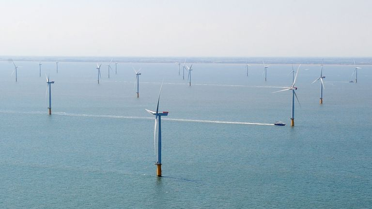 An aerial view showing the new Centrica Energy Lincs offshore wind farm off the Lincolnshire coast