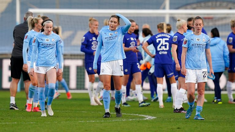 Dejected Manchester City players on the final whistle during the FA Women's Super League match in April