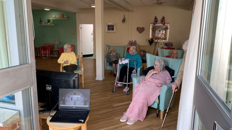 Residents at the Hillbury Care Home in Wrexham watching the funeral of HRH the Duke of Edinburgh.