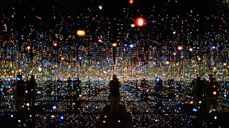 "The Japanese artist Yayoi Kusama's ""Infinity Mirrored Room - The Souls of Millions of Light Years Away"" on display in Los Angeles in 2015. Pic: AP"