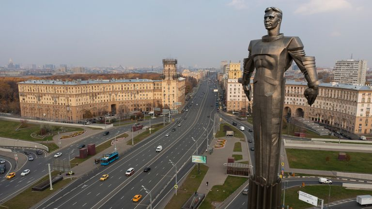 This Friday, Oct. 19, 2018 photo shows the 42-meter (138-feet) high and 12 ton (26,455 pounds) monument built in 1980 of Yuri Gagarin, the first person who flew to space, became a Moscow landmark. Gagarin's statue standing on a pedestal made to resemble a rocket exhaust is made of titanium. The successful one-orbit flight on April 12, 1961 made the 27-year-old Gagarin a national hero and cemented Soviet supremacy in space until the United States put a man on the moon more than eight years later.
