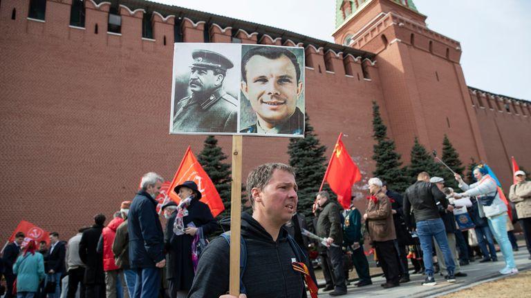 Russian commemorate the 60th anniversary of Yuri Gagarin