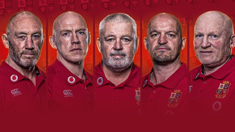 The 2021 Lions coaching team: (L to R) Robin McBryde, Steve Tandy, Warren Gatland, Gregor Townsend and Neil Jenkins (Credit Inpho)