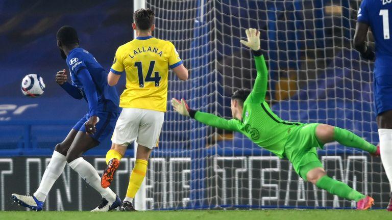 Adam Lallana has a shot on goal for Brighton vs Chelsea