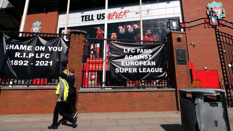 Banners are placed outside of Anfield in protest against Liverpool's involvement in a new European Super League