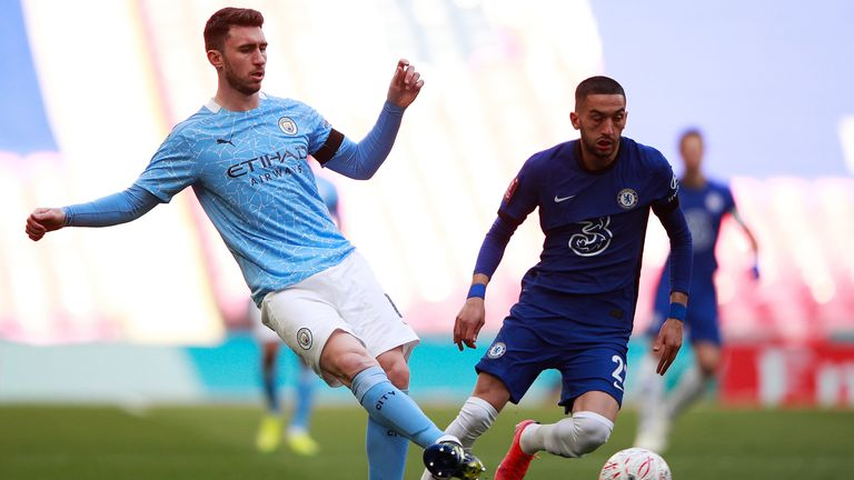 Aymeric Laporte and Hakim Ziyech in action during the FA Cup semi final at Wembley