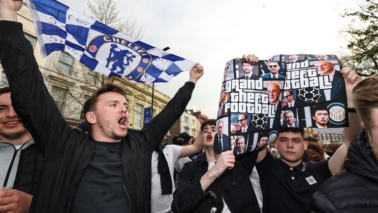 Protests outside Stamford Bridge ahead of Chelsea's game with Brighton on Tuesday saw their withdrawal from the European Super League within hours