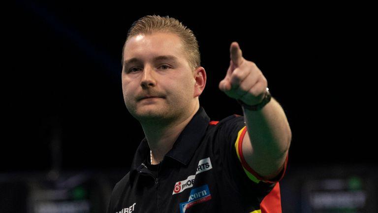 Dimitri Van den Bergh produced this fantastic finish to beat Nathan Aspinall