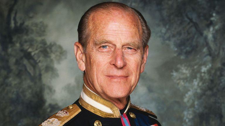 Prince Philip, Duke of Edinburgh (pic from Sky News for funeral)