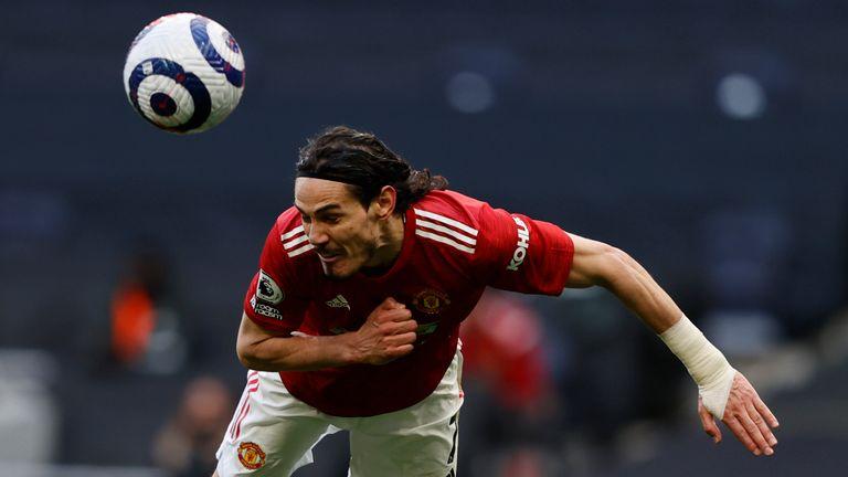 Edinson Cavani put Man Utd 2-1 up against Tottenham on Sunday with a diving header