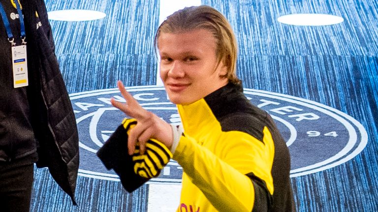 Borussia Dortmund striker Erling Haaland certainly seemed impressed with his first taste of Manchester City's Etihad Stadium ahead of Tuesday's Champions League tie (Pictures: Borussia Dortmund).
