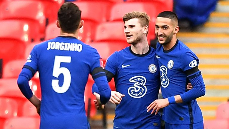 Chelsea's Hakim Ziyech (R) celebrates with Timo Werner after giving his team a 1-0 lead