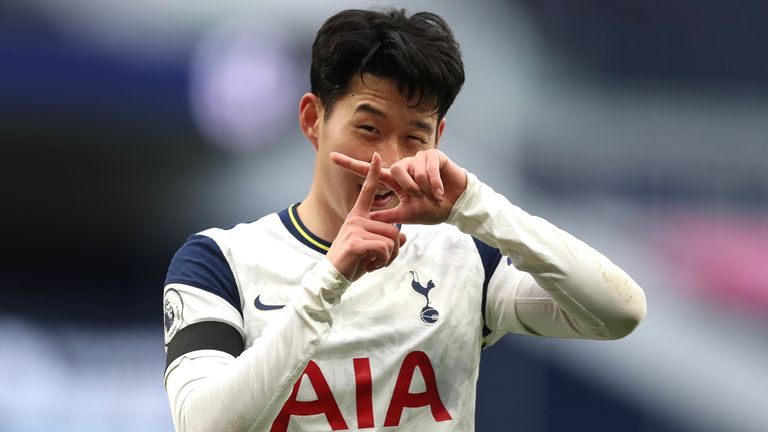 Heung-Min Son celebrates after putting Spurs 1-0 up
