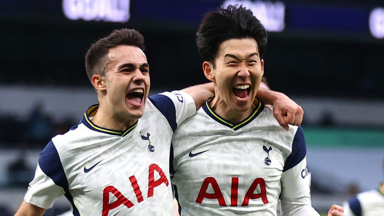 Heung-Min Son celebrates with team-mate Sergio Reguilon