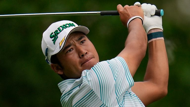 Hideki Matsuyama, of Japan, tees off on the fourth hole during the third round of the Masters golf tournament on Saturday, April 10, 2021, in Augusta, Ga. (AP Photo/Gregory Bull)