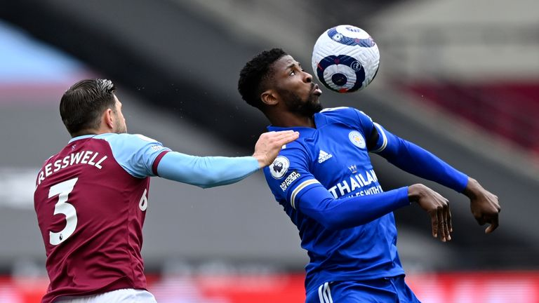 Kelechi Iheanacho and Aaron Cresswell in Premier League action at the London Stadium (AP)