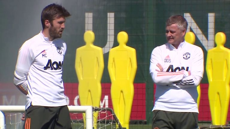 Michael Carrick and ole Gunnar Solskjaer pictured at training shortly after the fan protests