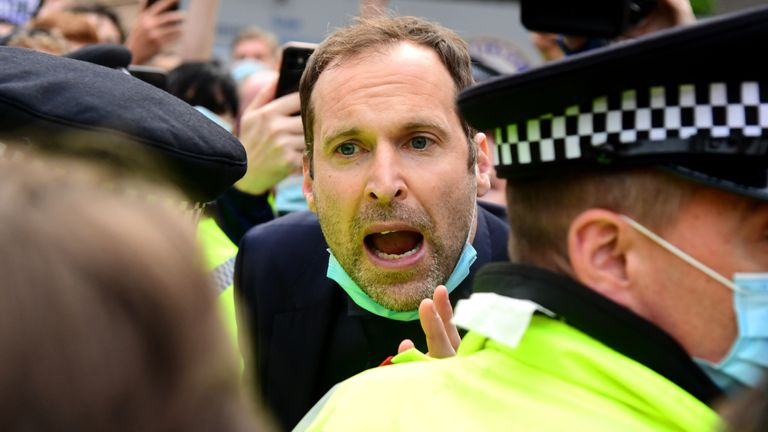 Petr Cech pleads with protesters outside Stamford Bridge