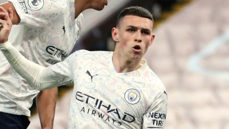 Phil Foden scores Man City's equaliser against Aston Villa