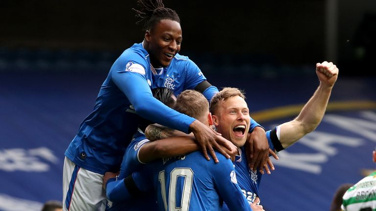 Steven Davis celebrates after putting Rangers ahead against Celtic in the Scottish Cup