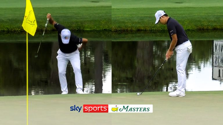 Si Woo Kim showed his frustration after his three-putt on 14 by breaking his putter!