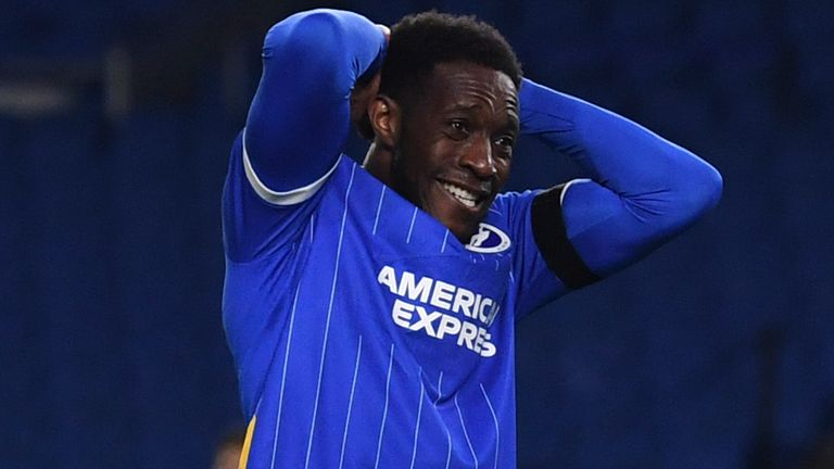 Brighton's Danny Welbeck reacts after missing a chance during the English Premier League soccer match between Brighton and Everton at the Falmer Stadium in Brighton, England, Monday, April 12, 2021. (Glyn Kirk/Pool via AP)
