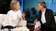 U.S. Democratic presidential candidate Hillary Clinton (L) speaks to Ellen Degeneres during a taping of the Ellen Degeneres Show in Burbank, California, U.S. May 24, 2016. REUTERS/Lucy Nicholson