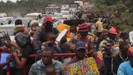 Residents flee Goma, Congo after evacuation orders were issued. Pic: AP