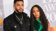 Andre Gray and Little Mix's Leigh-Anne Pinnock at the Brit Awards in 2019. Pic: AP