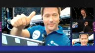 French ESA astronaut Thomas Pesquet gestures during an interview with members of Coldplay, in this still image from an undated handout video. Pic: Coldplay/Handout