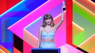 Taylor Swift accepts the Global Icon award during the Brit Awards 2021