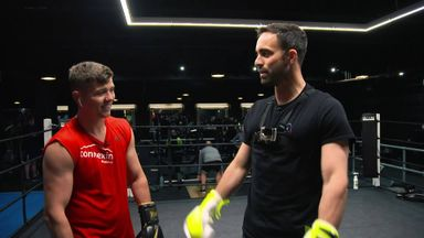 Campbell works out with famous faces