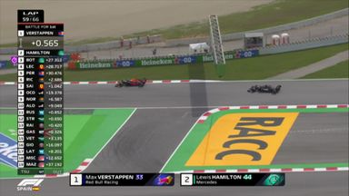 Hamilton passes Verstappen for the lead!