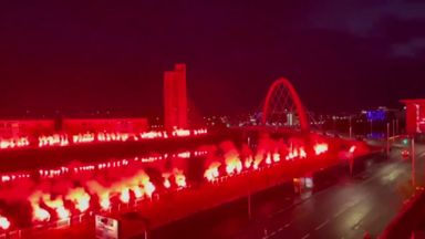 Rangers fans light up sky in title celebrations