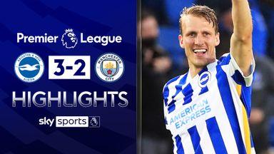Brighton beat 10-man City in thriller