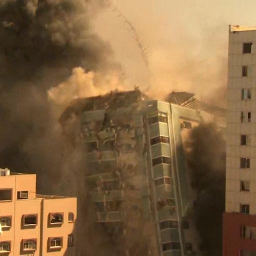 Media building in Gaza collapses after Israeli airstrike as Palestinian rockets target Tel Aviv area