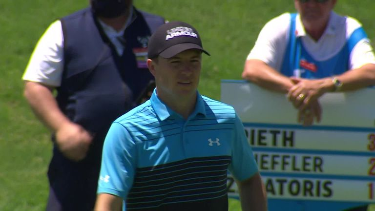 Highlights of a nine-under 63 from Jordan Spieth in front of his hometown fans at the AT&T Byron Nelson in Dallas, where he is tied for the lead after a thrilling eagle at the last