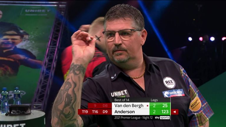 Gary Anderson hits this lovely 123 checkout against Dimitri Van den Bergh
