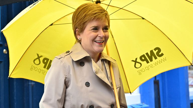 File photo dated 03/05/21 of Scotland's First Minister and leader of the Scottish National Party (SNP), Nicola Sturgeon (right) in the Midsteeple Quarter, during campaigning for the Scottish Parliamentary election. Issue date: Tuesday May 4, 2021.