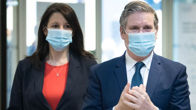 Labour party leader Sir Keir Starmer and Shadow Chancellor of the Duchy of Lancaster, Rachel Reeves meet staff during a visit to Chelsea and Westminster Hospital, London, to thank the NHS staff for their work as the country marks the one year anniversary of the first national lockdown to prevent the spread of coronavirus. Picture date: Tuesday March 23, 2021.