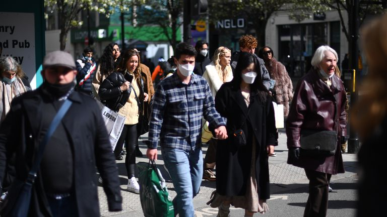 Shoppers on Oxford Street, London, as England takes another step back towards normality with the further easing of lockdown restrictions. Picture date: Monday April 12, 2021.