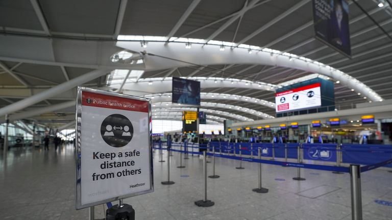 The departures area in Terminal 5 at Heathrow Airport in west London ahead of international travel restarting on Monday May 17, following the further easing of lockdown restrictions. Picture date: Thursday May 13, 2021.