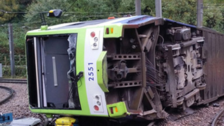 BEST QUALITY AVAILABLE Undated handout file photo issued by the Rail Accident Investigation Branch of a tram which derailed near the Sandilands stop in Croydon on November 9 2016. The inquest into the deaths of seven people killed in the Croydon tram crash opens on Monday. A further 51 were injured when the derailment happened in south London. Issue date: Monday May 17, 2021.