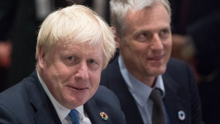 Prime Minister Boris Johnson and Environment minister Zac Goldsmith attend a biodiversity event at the United Nations Headquarters in New York, USA, hosted by the World Wildlife Fund during the 74th Session of the UN General Assembly.PA Photo. Picture date: Monday September 23, 2019. See PA story POLITICS UN. Photo credit should read: Stefan Rousseau/PA Wire
