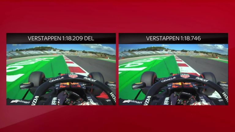 Karun Chandhok takes a look at Max Verstappen's two Q3 laps at the SkyPad: One that would have been enough for pole but got deleted, and one that left him a distant third.