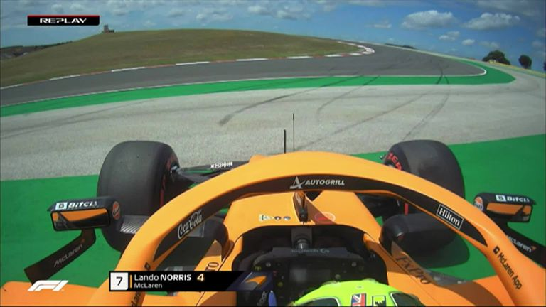 McLaren's Lando Norris spins out on Turn 14 during Portimao practice.