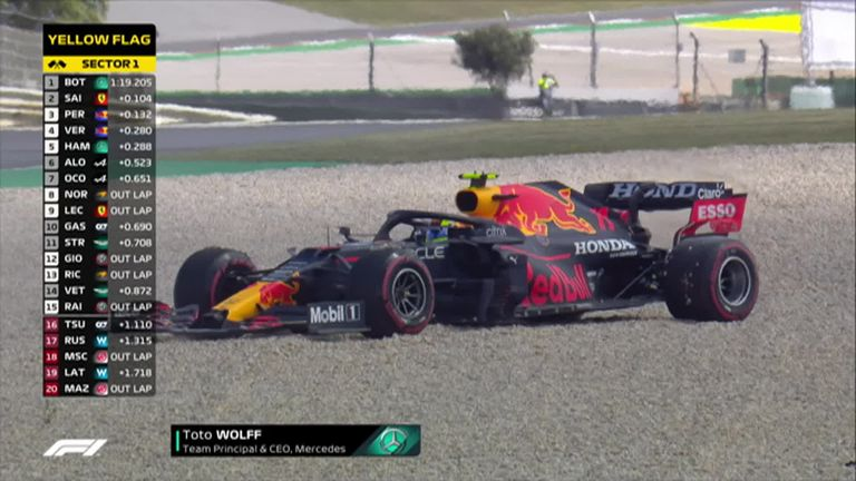 Watch as Red Bull's Sergio Perez finds the gravel during Q1 in qualifying at the Portuguese GP.