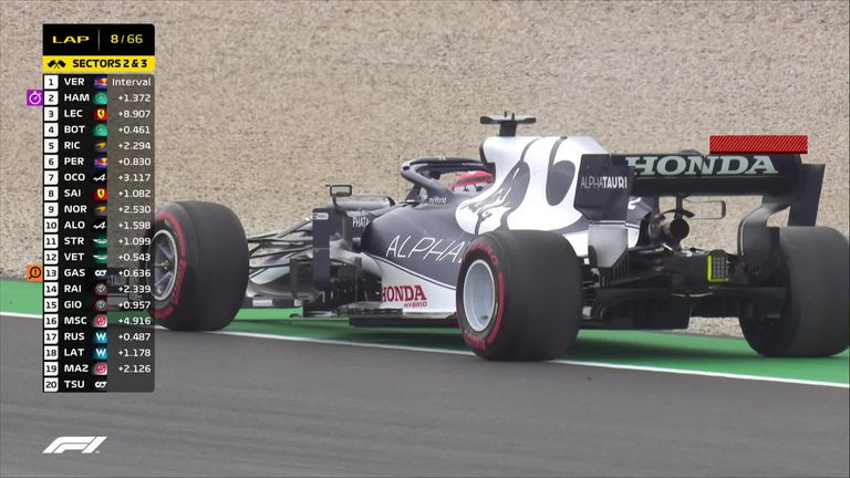 Yuki Tsunoda's miserable weekend has just got worse, with the AlphaTauri having parked up on Turn 10 with a problem.