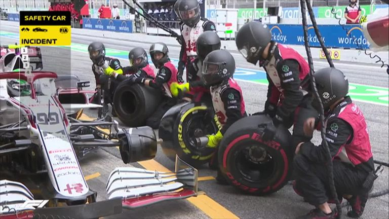Alfa Romeo's Antonio Giovinazzi is delayed in the pits by 35 seconds after his team accidentally brings out a deflated tyre.