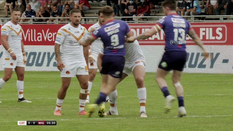 Highlights of the Super League clash between Catalans Dragons and Wigan Warriors